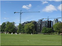 NT2572 : Old game and new buildings, The Meadows, Edinburgh by Graham Robson