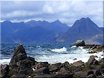 NG5113 : Rocky beach and wild sea at Elgol by Gordon Brown