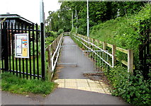 SU3521 : Canal Walk entrance footpath to Romsey rail station by Jaggery