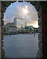 SK5739 : Across the Market Square at dusk by John Sutton