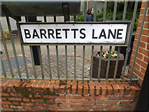 TM0855 : Barretts Lane sign by Adrian Cable