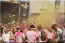 TQ1985 : View of a small colour throw in front of the stage at the Colour Run #4 by Robert Lamb