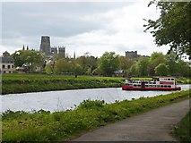NZ2742 : Tourist boat doing a U turn in the River Wear, Durham by Derek Voller