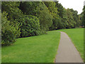 SP1582 : Footpath nearing a footbridge over the brook, Elmdon Park, Olton by Robin Stott