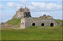 NU1341 : Lindisfarne Castle and Lime kilns by Philip Halling
