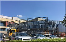 SJ8545 : Royal Stoke University Hospital: building work on outside of Cancer Centre by Jonathan Hutchins