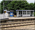 SO8005 : Ticket machine and shelter on platform 2, Stonehouse railway station  by Jaggery