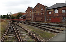 SJ2929 : Oswestry railway lines from a level crossing by Jaggery