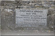 NX9257 : Plaque, Southwick Bridge by Richard Webb