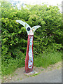 NZ3657 : National Cycle Network milepost above the River Wear by Oliver Dixon