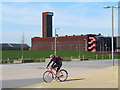 TQ3784 : Cyclist in the Olympic Park by Stephen Craven