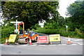 SY3499 : Road Closed at Hawkchurch Cross by Nigel Mykura