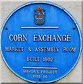 SO5924 : Corn Exchange blue plaque. Ross-on-Wye by Jaggery