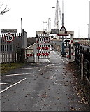 ST5491 : Height and width barrier at the Chepstow end of Wye Bridge by Jaggery