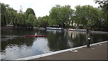 TQ2681 : A canoeist at Little Venice by John Welford