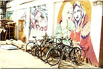 TQ3783 : View of street art in the rear of a workshop and studio on Dace Road by Robert Lamb