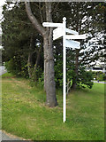 SN5981 : Roadsign near the Llandinam Building by Adrian Cable