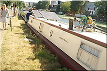 TQ3784 : View of a barge moored up on the River Lea #6 by Robert Lamb