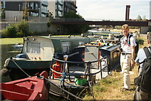 TQ3784 : View of two barges moored up on the River Lea by Robert Lamb