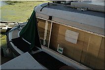 TQ3784 : View of a barge moored up on the River Lea #7 by Robert Lamb