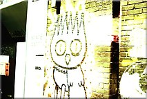 TQ3784 : View of an owl on the wall beneath the London Olympics Energy Centre from the River Lea Navigation by Robert Lamb