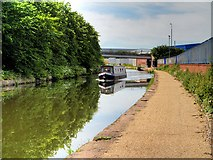 SJ7996 : Narrowboat on the Bridgewater Canal at Trafford Park by David Dixon