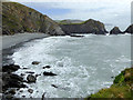 SS2224 : Rocky shoreline south of Hartland Quay, Devon by Roger  Kidd