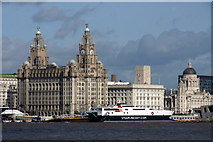 SJ3390 : Liver Building and the Pier Head, Liverpool, from Seacombe by Mike Pennington