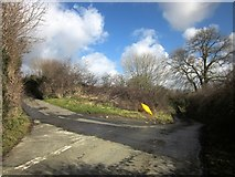 SX3477 : Lane junction near Treburley by Derek Harper