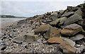 SN3609 : Ferryside beach coastal defences by Jaggery