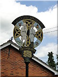 TF9123 : Whissonsett village sign (detail) by Adrian S Pye