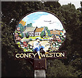 TL9578 : Coney Weston village sign (detail) by Evelyn Simak