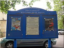 TQ0464 : St Paul, Addlestone: noticeboard by Basher Eyre