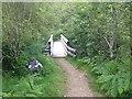 NM8464 : Footbridge over Strontian River by Steven Brown