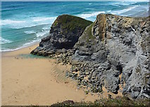 SW8469 : Bedruthan Step: Pendarves Island and Pendarves Point by Edmund Shaw