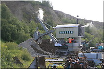 NY3224 : Threlkeld Quarry & Mining Museum - Ruston Navvy - success at last by Chris Allen