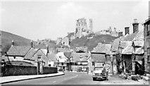 SY9682 : Corfe Castle, 1960: Castle from East Street by Ben Brooksbank