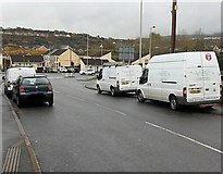 SS8591 : V2C vans parked in Crown Road, Maesteg by Jaggery