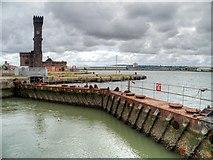 SJ3290 : Birkenhead Docks, East Float Lock and Control Tower by David Dixon
