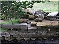NY9170 : Remains of Chesters Roman Bridge by Andrew Curtis