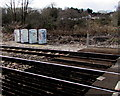 ST1281 : Four lineside boxes near Gelynis level crossing by Jaggery