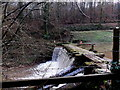 SO5000 : Sluice across the River Angiddy at the NE end of Ravensnest Ponds by Jaggery