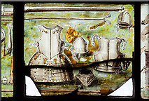 SJ4154 : St Chad's church, Farndon - the Civil War window (4) by Mike Searle
