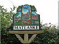 TG1434 : Matlaske village sign (detail) by Adrian S Pye
