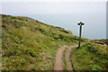 SM7524 : Footpath marker post above St Non's Bay by Bill Boaden