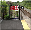 SM9438 : Warning sign - do not trespass on the railway, Fishguard and Goodwick station by Jaggery