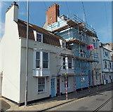 SY6878 : Custom House Quay scaffolding, Weymouth by Jaggery