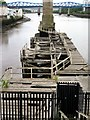 NZ2563 : Wooden jetty west of the Swing Bridge by Andrew Curtis