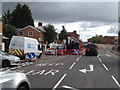 SP2965 : Works blocking a lane of Emscote Road, Warwick by Robin Stott