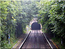 TR2548 : The north portal of Lydden Tunnel viewed from Shepherdswell station footbridge by John Lucas